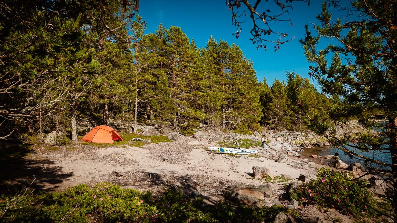 Tältplats i Hudiksvalls skärgård